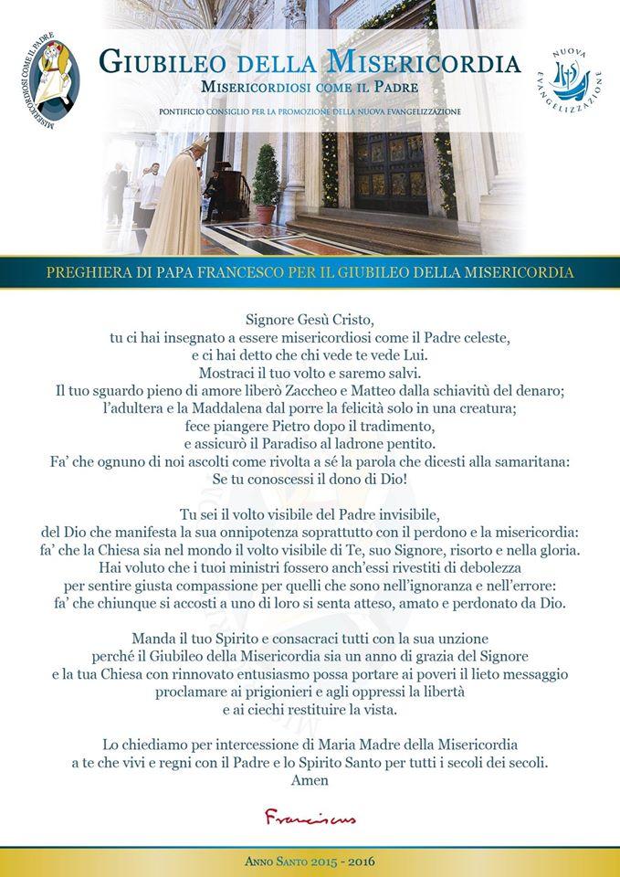 Molto Preghiera di Papa Francesco per il Giubileo della Misericordia  CI56