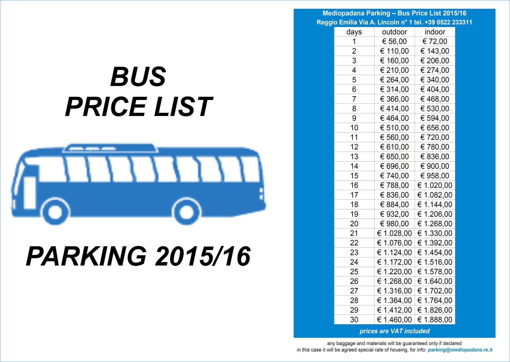Mediopadana Parking - Price List 2015/16